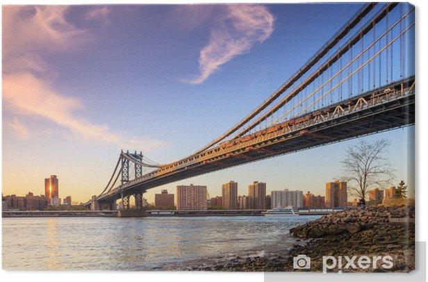 Manhattan bridge at sunset Canvas Print - American Cities