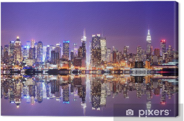 Manhattan Skyline with Reflections Canvas Print -