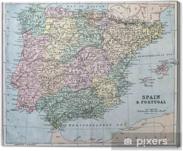 Map of 19th Century Spain and Portugal Canvas Print - Graphic Resources
