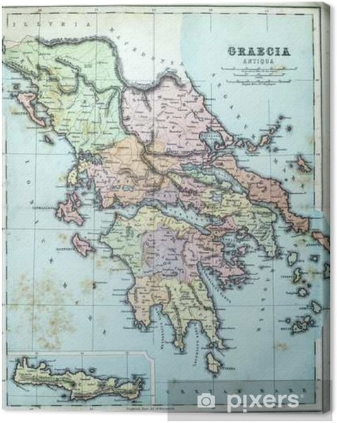 image relating to Printable Map of Ancient Greece identify Map of Historic Greece Canvas Print