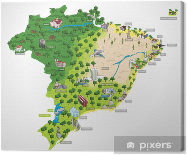 Map of Brazil with all capitals. Cities of Brazil. Canvas Print