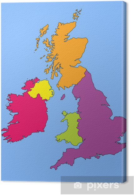 photograph regarding Printable Map of Uk and Ireland referred to as Map of Ideal Britain and Eire Canvas Print