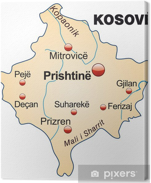 Map Of Kosovo With Capitals Canvas Print Pixers We Live To Change