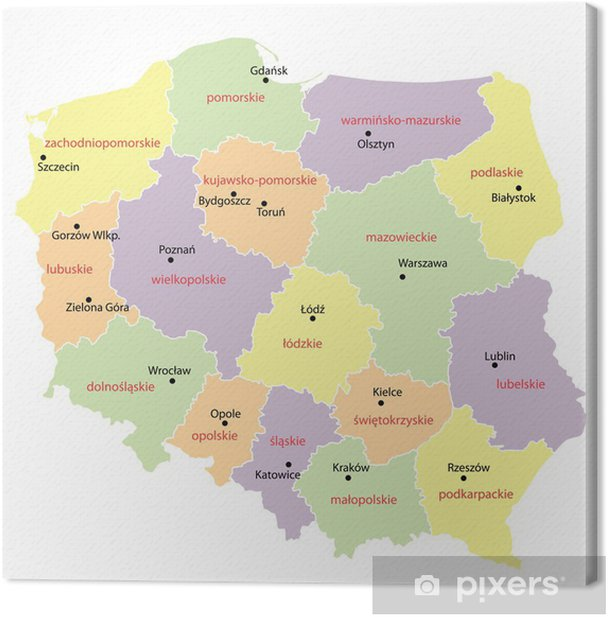 map of Poland with voivodeships Canvas Print - Themes