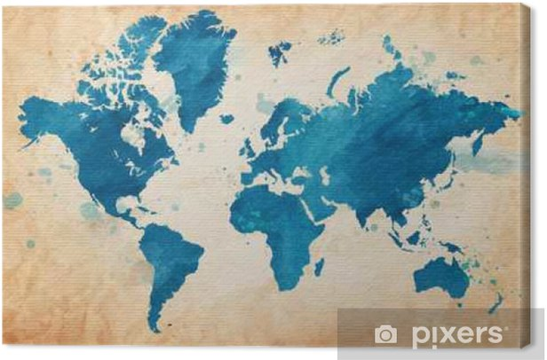 map of the world with a textured background and watercolor spots ...