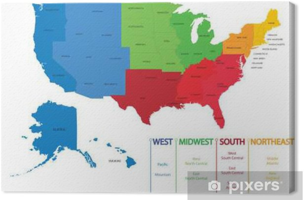 Map of US regions. Maps USA Canvas Print • Pixers® • We live to change