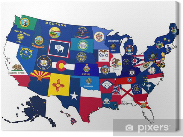 Map of USA with state flags Canvas Print - American Cities