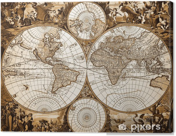 Mappemonde ancienne Canvas Print - Holidays