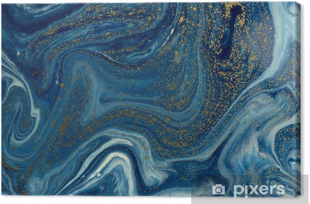 Marbled blue and golden abstract background. Liquid marble pattern Canvas Print - Graphic Resources