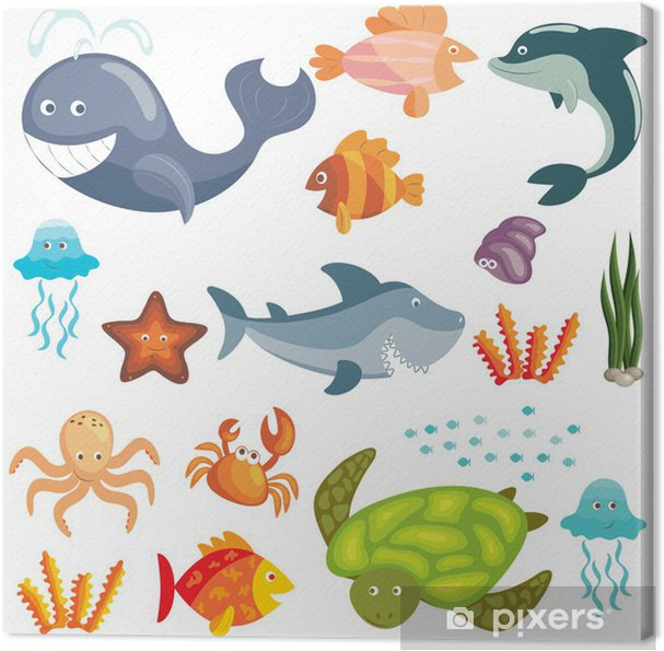 Marine animals set Canvas Print - Wall decals