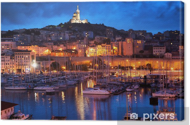 Marseille, France panorama at night, the harbour. Canvas Print -