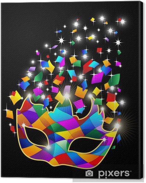 Maschera Arlecchino Brillante-Glitter Harlequin Mask-Vector Canvas Print - Entertainment