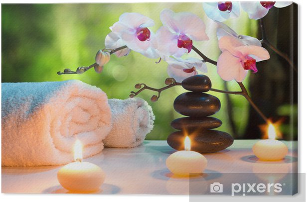 massage composition spa with candles, orchids, stones in garden Canvas Print - Destinations