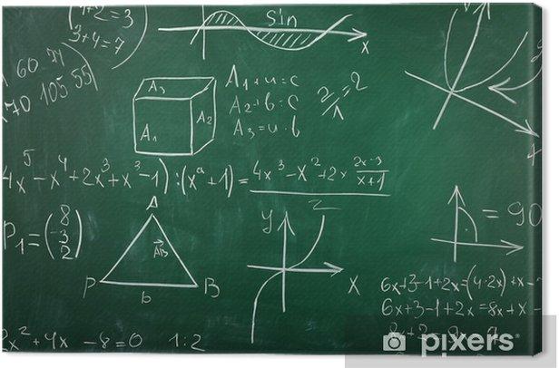 Math formulas on blackboard background Canvas Print