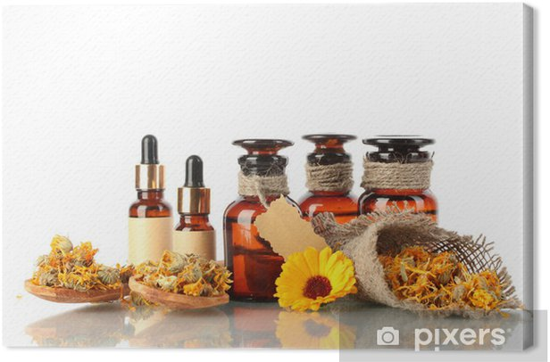 medicine bottles and calendula, isolated on white Canvas Print - Flowers