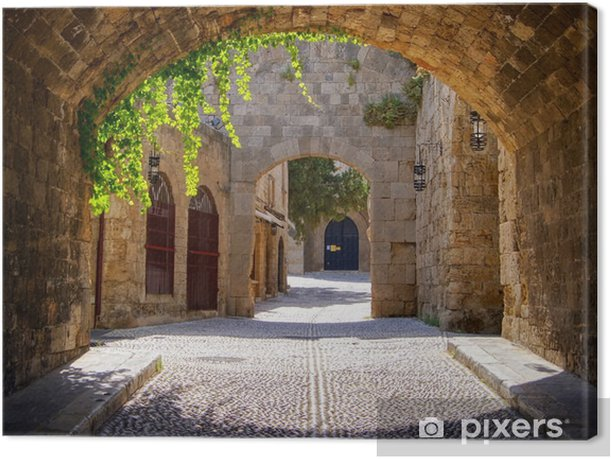 Medieval arched street in the old town of Rhodes, Greece Canvas Print - Styles