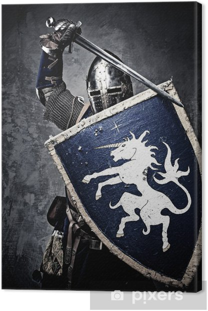 Medieval knight against stone wall Canvas Print - Knights