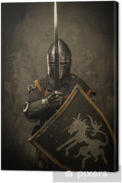 Medieval knight on grey background Canvas Print - Knights