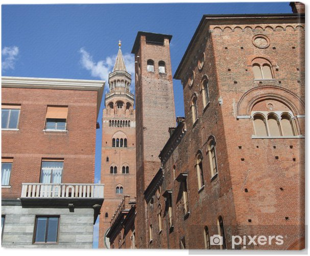 medieval skyscrapers in historic center of Cremona, Italy Canvas Print - Europe