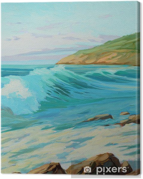 mediterranean landscape with turquoise wave, illustration, paint Canvas Print - Art and Creation