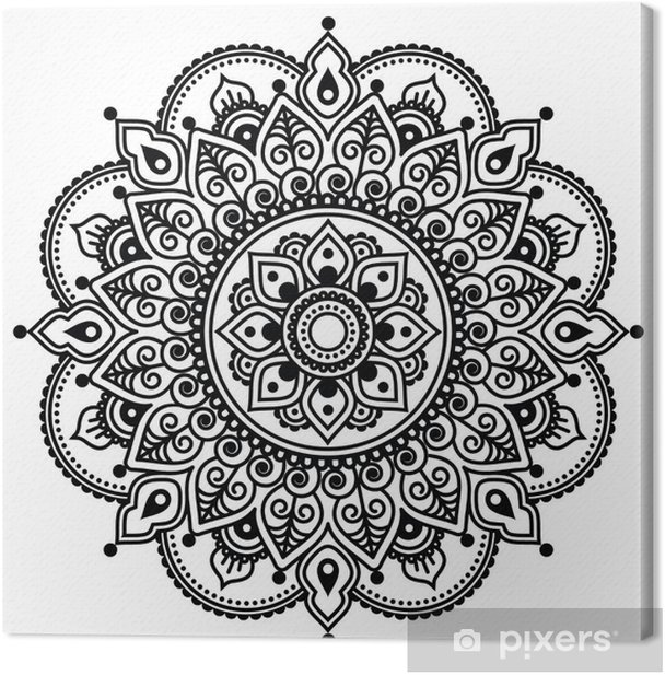 Mehndi, Indian Henna tattoo pattern or background Canvas Print - Asia