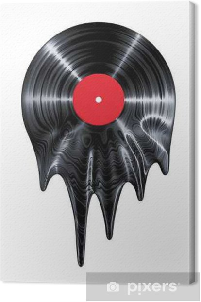 Melting vinyl record / 3D render of vinyl record melting Canvas Print - Hobbies and Leisure