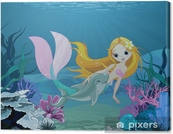 Mermaid and dolphin background Canvas Print - Pupil