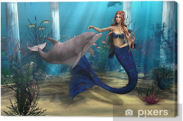 Mermaid and Dolphin Canvas Print - Destinations