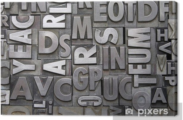 Metal Letterpress Type Canvas Print -