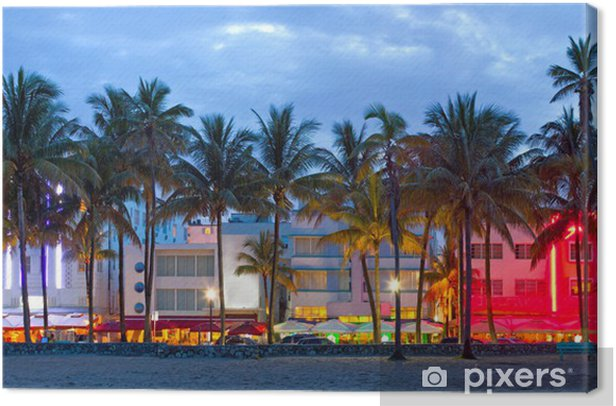 Miami Beach, Florida hotels and restaurants at sunset Canvas Print - Palm trees
