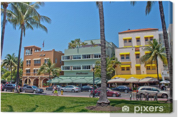 MIAMI - May 9, 2013: South Beach Miami with its iconic Art Deco Canvas Print - America