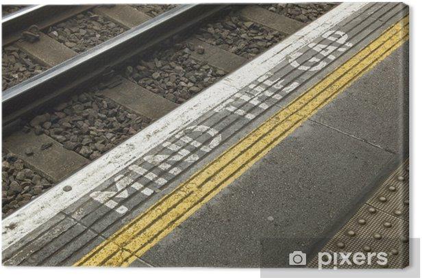 mind the gap warning text on London subway platform Canvas Print - Railway