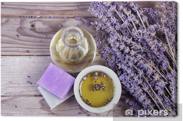 Mix of lavender flowers and cosmetic Canvas Print - Herbs