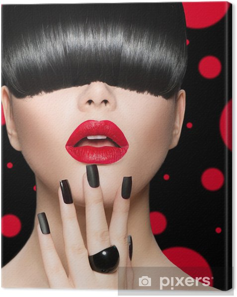 Model Girl Portrait with Trendy Hairstyle, Makeup and Manicure Canvas Print - Fashion