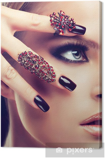Model with burgundy manicure and fashion rings Canvas Print - Themes