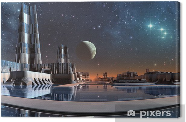 Modern City Skyline Canvas Print - Outer Space