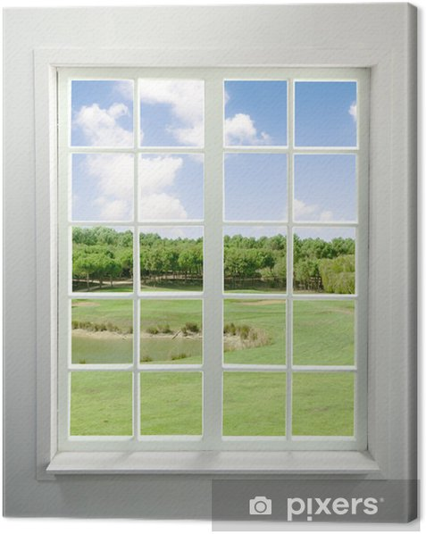 Modern residential window with lake view Canvas Print - Styles