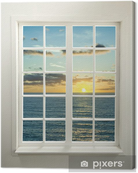 Modern residential window with sunset over sea and clouds Canvas Print - iStaging