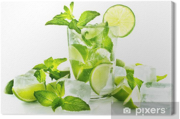Mojito cocktail on white background Canvas Print - Wall decals