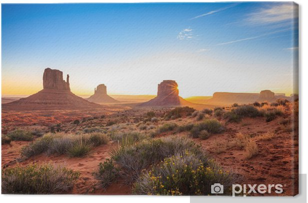 Monument Valley sunrise, AZ, USA Canvas Print - Desert
