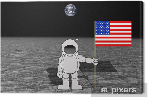 Moon Landing Canvas Print - Outer Space