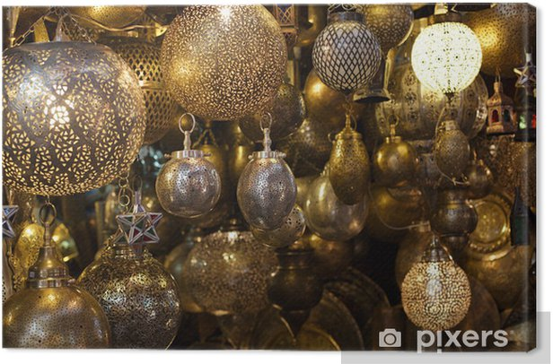 Moroccan glass and metal lanterns lamps in Marrakesh souq Canvas Print - Africa