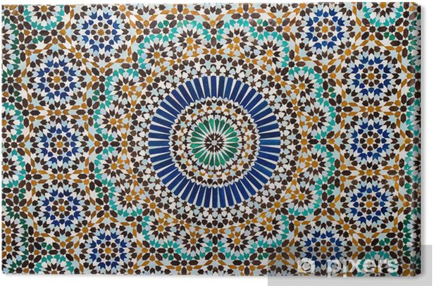 moroccan vintage tile background Canvas Print - Mosaic