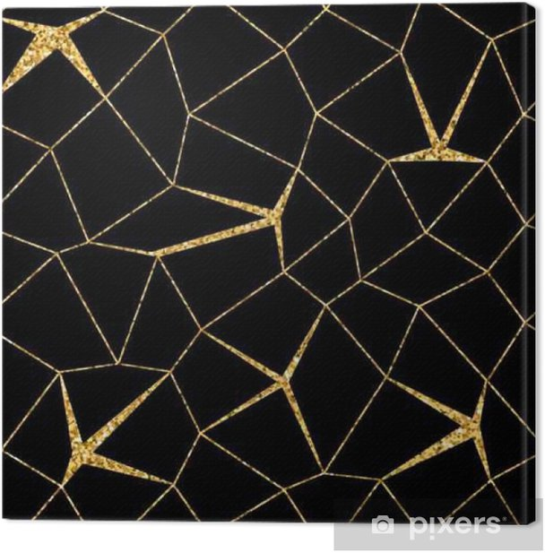 Mosaic Geometric Seamless Pattern 3d Gold Glitter Black Template Abstract Texture Golden Luxury Prints Retro Vintage Decoration Design For