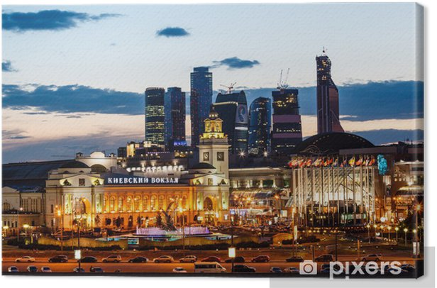 Moscow City and Kievskiy Railway Station in the Evening, Russia Canvas Print - Holidays