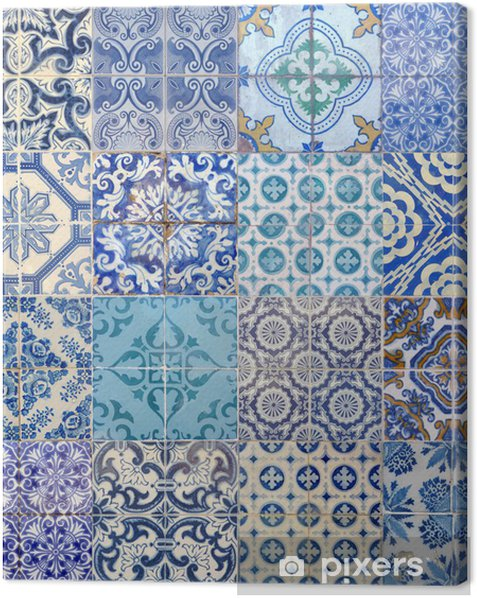 motifs azujelo bleu Canvas Print - European Cities