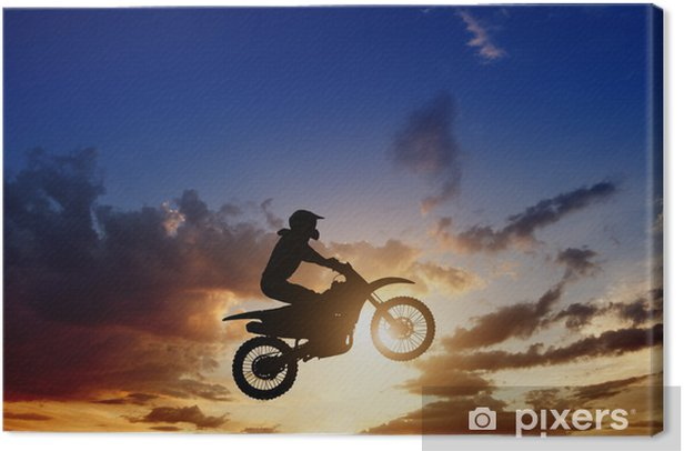 Motorcircle rider silhouette Canvas Print - Extreme Sports