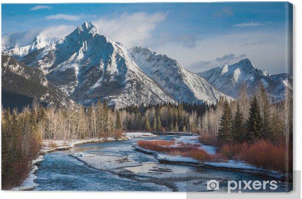 Mount Lorette and Kananaskis River, Alberta,Canada Canvas Print - America