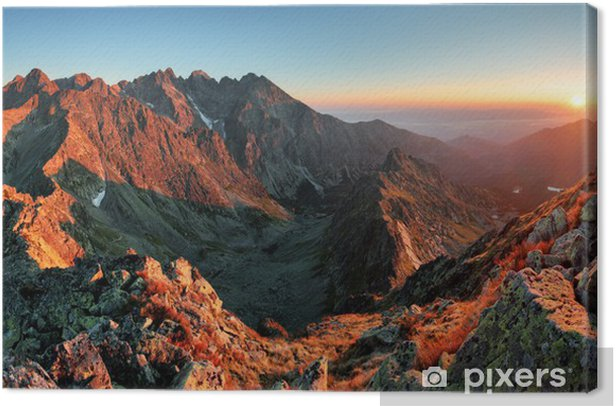 Mountain sunset panorama from peak - Slovakia Tatras Canvas Print - Themes