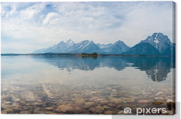 Mountain top reflections on the lake Canvas Print - Mountains